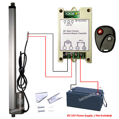 "Set of 16"" 12V Linear Actuator &Wireless Remote Control for Car Auto Door Opener"