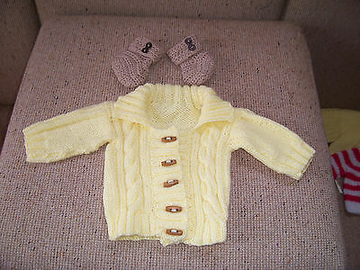 New Baby Hand Knitted Cardigan  With Collar & 1Pair Booties Yellow 0-3 Mths App