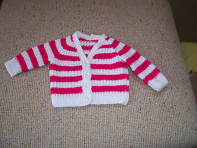 New Baby Hand Knitted  Cardigan White & Cerise Stripes Newborn