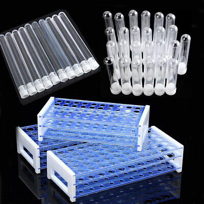 25/50pcs Plastic Test Tubes Vials with Caps & Pipe Rack Holder Stand 40/50 Holes