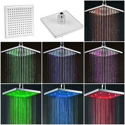"8"" inch Square Rain 7 Automatic Changing Color LED Light Shower Head Bath UK CY"