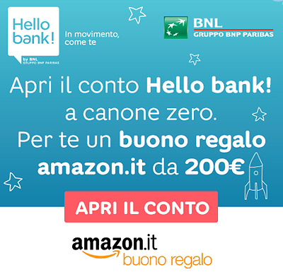 Buono amazon 200 hello bank voucher gratis codice eur for Codici regalo amazon gratis