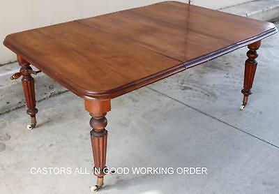 Antique Victorian Mahogany Screw Extension Dining Table Circa 1880 Single Leaf