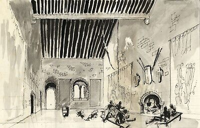 Patrick Faulkner, Revelry in Medieval Hall - Mid-20th-century pen & ink drawing