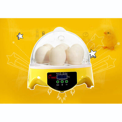 HHD Mini 7 Eggs Automatic Digital Poultry Incubator Hatcher Tool US EU UK AUPLUG