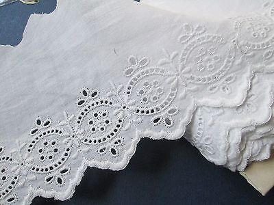 Antique/Vintage Eyelet lace white embroidered cotton/.for dolls Austria
