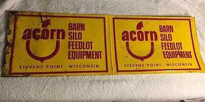 Vintage ACORN Barn Silo Feed & Equipment Stevens Point, WIS. Sign