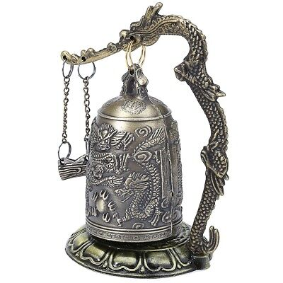 Chinese Retro Design Bronze Lock Carved Buddhist Bell Dragon Zinc Alloy Zinc