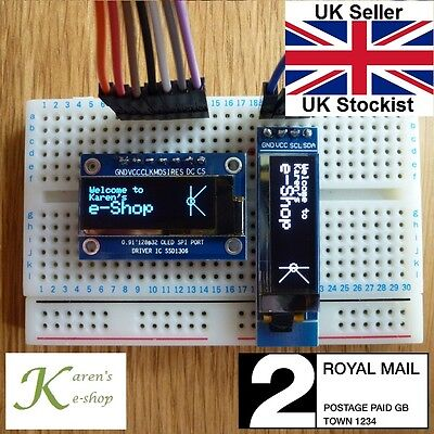"0.91"" 128x32 IIC I2C SPI OLED Display Module for Arduino White/Blue"