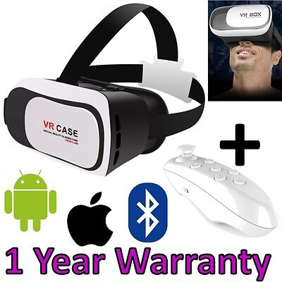 Latest 2017 VR Box Virtual Reality 3D IMAX V2.0 Glasses iPhone Samsung + Remote