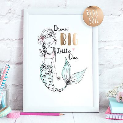 Mermaid Real Foil Rose Gold Quote Print Nursery Bedroom Art Girl Children Print