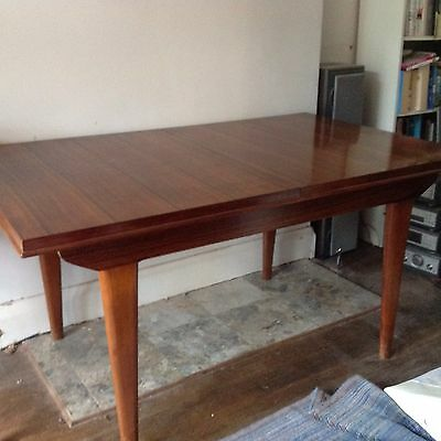 Alfred Cox Mid Century 1960s Walnut Rosewood  Dining Table Modernist Extending