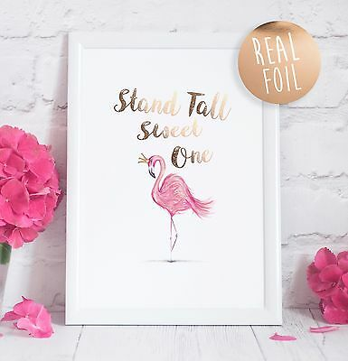 Flamingo Real Foil Rose Gold Quote Print Office Art Girls Womens Quote Print