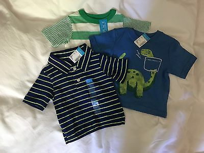 Baby Tops - Two T-Shirts & One Polo Top - 6-9 Months - New