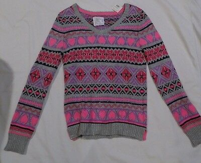 JUSTICE Girls Sweater w/ Rhinestone Detail  Sz 16 Long Sleeved NWT Cotton Blend