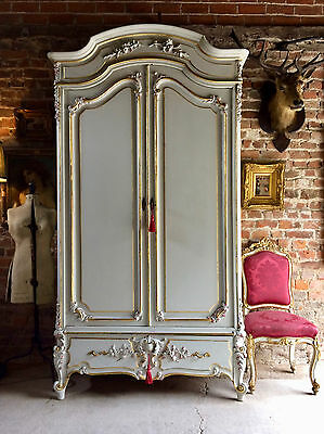 Stunning Antique Style French Armoire Wardrobe Painted Gilded Mirrored Large