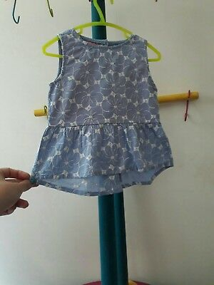 Floral blue and white embroidered peplum top age 18-24 months