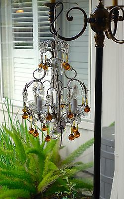 Antique Vintage French Amber Crystal Beaded Chandelier GORGEOUS