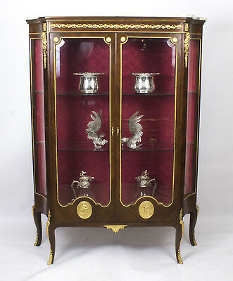 Antique French Mahogany Louis Revival Display Cabinet c.1880