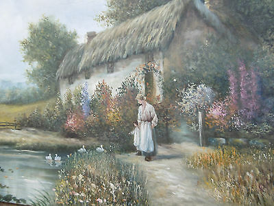 Vintage oil  painting thatched cottage pastoral scene of woman and child