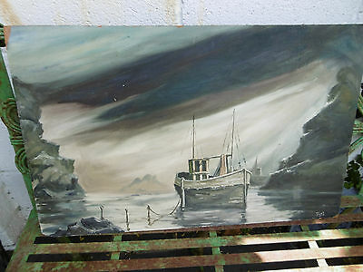 Vintage oil painting seascape by Trust COLLECTION ONLY S.WALES