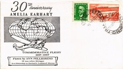 Dr Jim Stamps Anniversary Amelia Earhart Commemorative Flight Brazil Cover