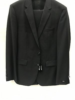 NEW Hugo Boss Solid Black 100% Premium Wool Suit 2 Button Made In Turkey 42 L