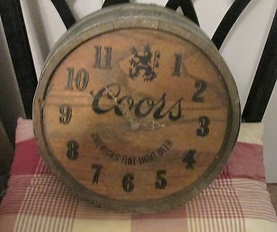 Coors Beer Real Wooden Beer Barrel Round Clock