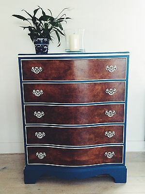 Curved painted antique chest of drawers