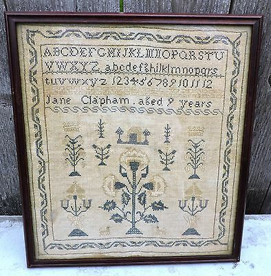 """Antique Cross Stitch Sampler Early 19th Century 13 1/2"""" x 12"""" Animals ect. NR"""