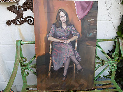 Vintage oil painting young woman COLLECTION ONLY S.WALES