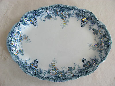 "Alfred Meakin-Richmond Blue-Flowers,Scrolls,Gold Accents -15 3/4"" Oval Platter"