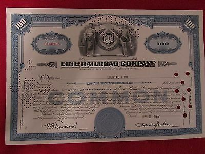 Vintage Erie Railroad Cancelled Stock Certificate