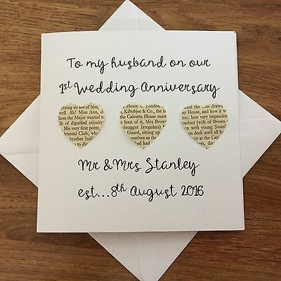 Personalised 1st wedding anniversary card for husband first personalised 1st wedding anniversary card for husband first anniversary m4hsunfo