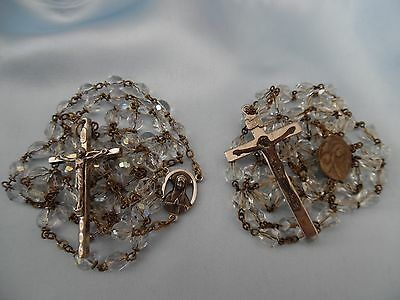 † Vintage Religious Cut Crystal Clear & AB Rosary Beads Lot / 2
