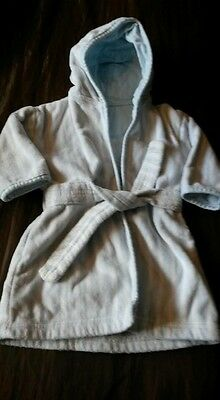 Mothercare Baby Blue & White Newborn To 6mths Dressing Gown