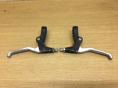 Pair Of Mountain Bicycle Brake Levers, Black And Silver Bike Part #428