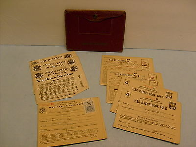 8 Original WWII War Ration Books & Stamps #1 #2 #3 #4 w/Leather Wallet
