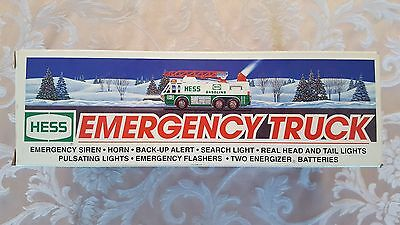 1996 Hess Emergency Truck With Siren,horn & Back-Up Alert *new In Box*