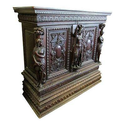 19th Century Carved Figural Renaissance Revival Court Cupboard Cabinet