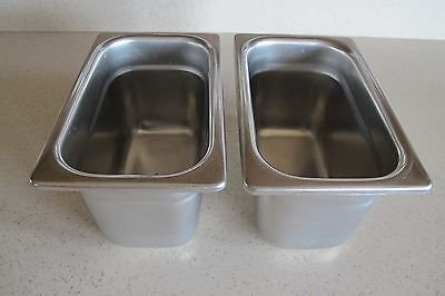"2-Vollrath 2094-5 Stainless Steel Deep Steam Table Food Pans NSF 6"" x 3.5"" x 4"""