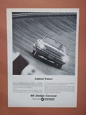 1965 Dodge Coronet Convertible Race Track Car photo print ad