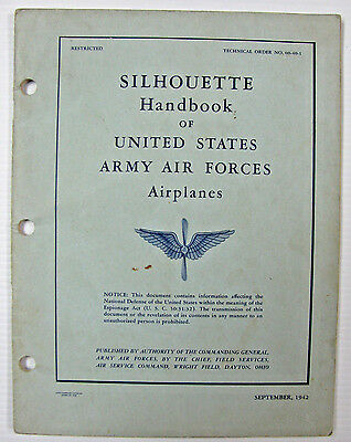 Original WWII 1942 War Book, Silhouette Handbook of Army Air Forces Airplanes