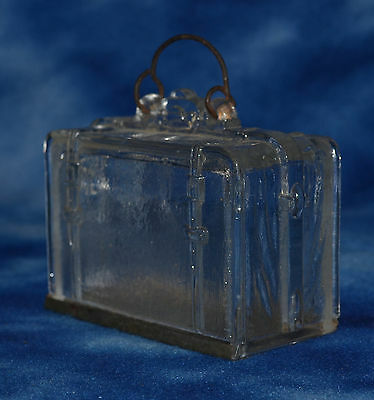 ANTIQUE 1906 WESTMORELAND GLASS SUITCASE CANDY CONTAINER w/ SLIDE BASE & HANDLE