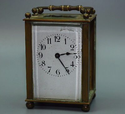 Antique French France Brass CARRIAGE CLOCK w KEY Porcelain Dial Parts Repair