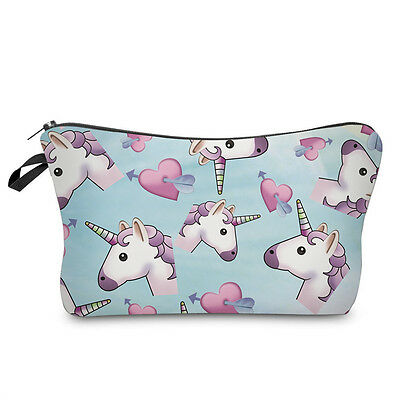 unicorn and hearts cosmetic makeup bag pencil case