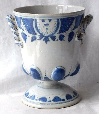 C18Th Rouen French Faience Hand Painted Twin Handled Cup On Pedestal Stand