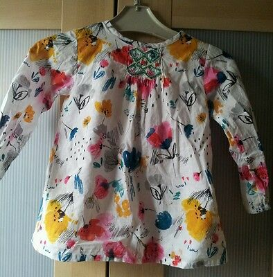 Baby Girls 18-24 Months White Floral Top From M&S