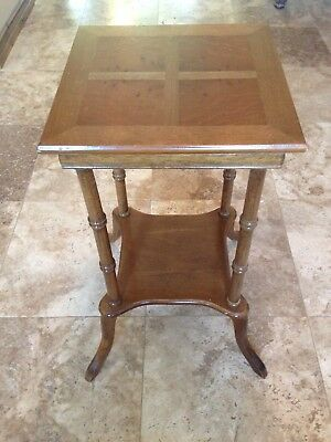 Antique 60's Wooden Lamp Stand End Table With Oak Inlay 1960