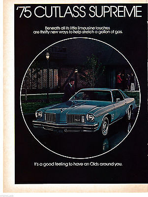 1975 Oldsmobile Cutlass Supreme Original Magazine Ad- General Motors -Automobile